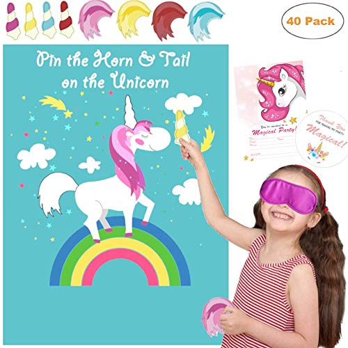 La La Unicorn (2 Games) Pin the Horn on the Unicorn Party Game Large & Pin the Tail on the Unicorn Birthday Party Game Supplies, Decorations, Christmas Gifts for Girls Age 3 4 5 6 7 8 9 10 + Years Old