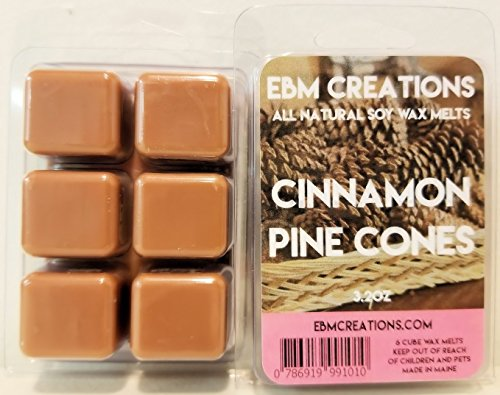 (Cinnamon Pine Cones - Scented All Natural Soy Wax Melts - 6 Cube Clamshell 3.2oz Highly Scented!)