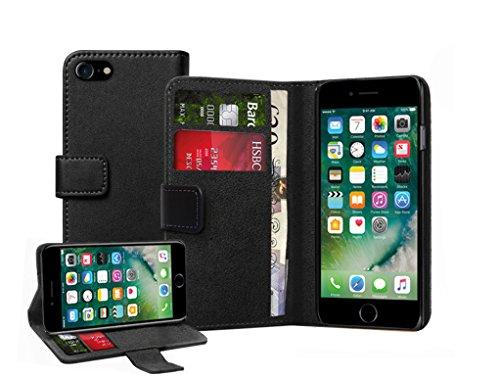 Membrane Funda Apple iPhone 7 Carcasa Cuero Auténtico Negro Piel Ultra Slim Case Flip Cover Cartera Cuero