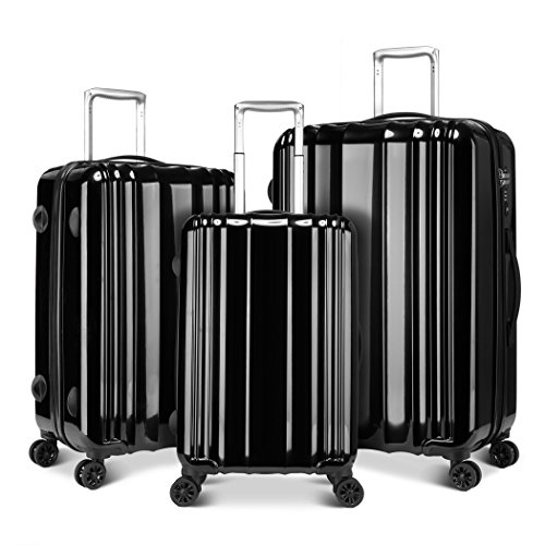Windtook 3 Piece Luggage Sets Spinner Suitcase Bag for Travel and Business-M6600 Black by WindTook