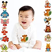 Disney Baby Boys Assorted Character Monthly Milestone Photo Prop Belly Stickers, 12 Sticker Gift Set, 0-12M