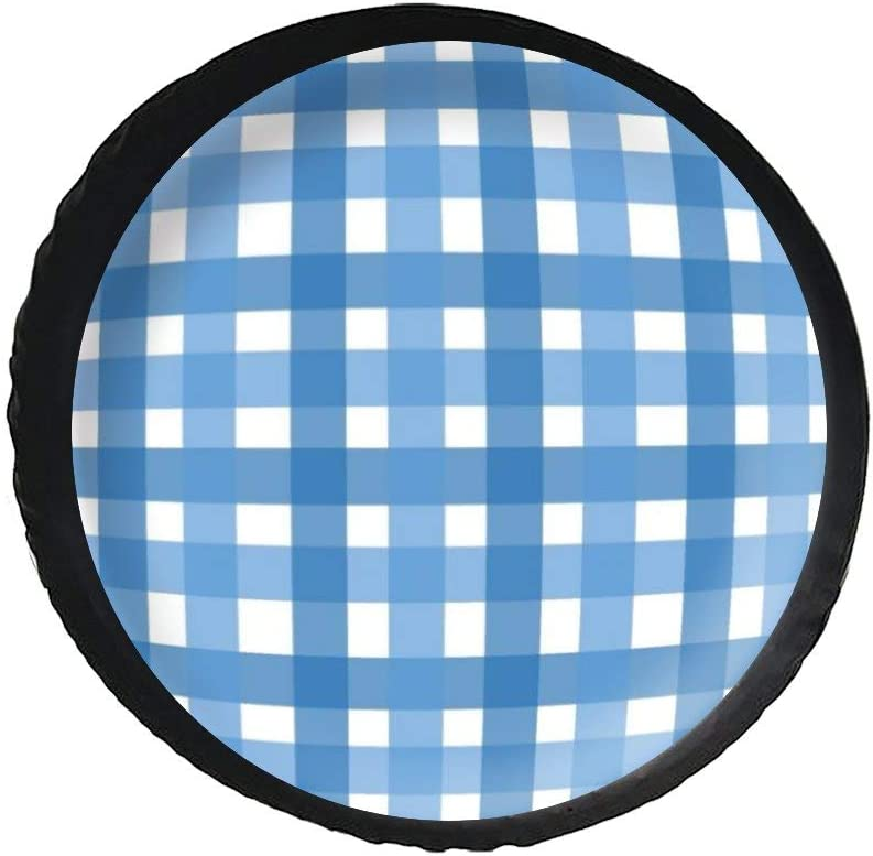 Universal Spare Tire Cover Wheel Protectors Black Leather Gingham Blue Fit For Camper Travel Trailer Truck And Many Vehicle 14inch Rv Suv