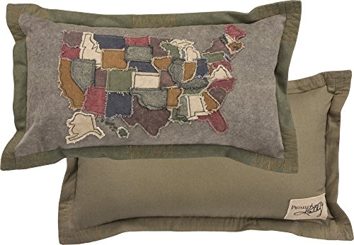 Primitives by Kathy Decorative USA Map Cotton Throw Pillow 20 x 11-Inch