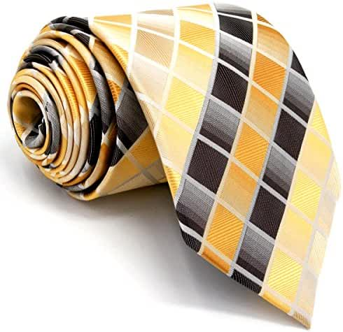 Shlax&Wing Neckties Checkered Mens Tie Yellow Brown Silk Prime Wedding for Men