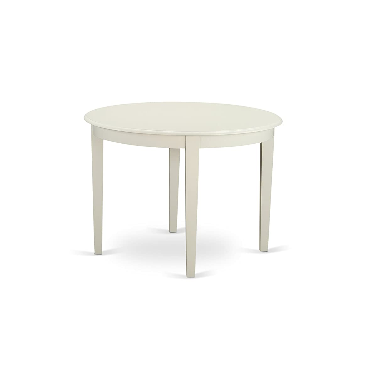 East West Furniture BOT-WHI-T Boston Table Round with 4 Tapered Legs, 42""