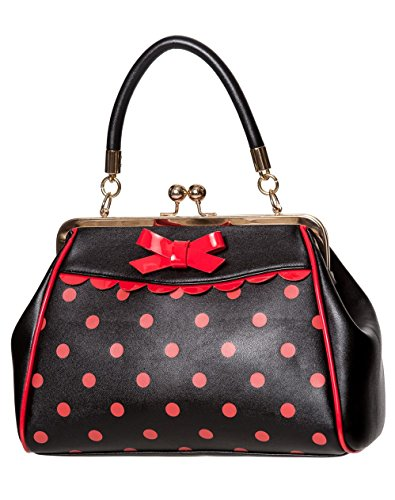 Black Polka Dot Banned Vintage 50s Red Retro Apparel Crazy Handbag Rockabilly xgxzC1Fqw
