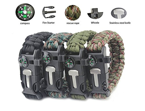 Emergency Paracord Bracelets by Aimic, 4 Different Color Pack, Survival Gear Kit with Embedded Compass, Fire Starter, Emergency Knife & Whistle