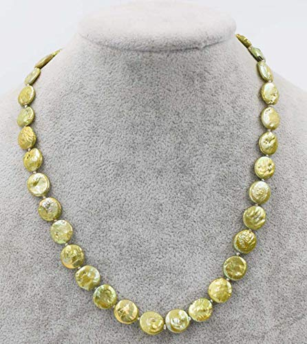 Freshwater Pearl Necklaces Yellow Green Coin 11-13mm Necklace 17inch Nature Fashion Necklace
