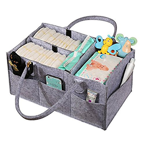 Baby Diaper Caddy,Nursery Storage Bin for Diapers,Wipes&Kid Toys,Multi-Pocket Organizer for Home and Car(Gray)