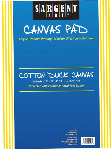 Sargent Art 90-4003 18x24-Inch Canvas Pad, 100% Cotton by Sargent Art