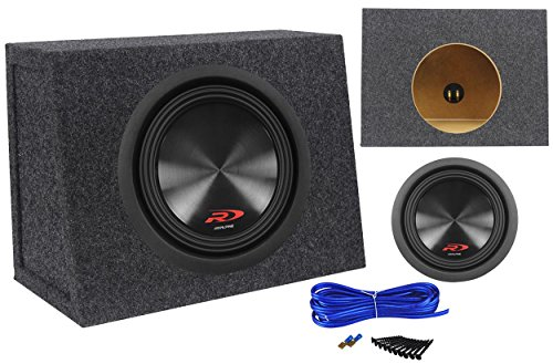 Package: Alpine SWR-8D4 8″ Type-R 1000W Peak/350W RMS Car Subwoofer + Sealed Shallow Subwoofer Enclosure Box + Single Enclosure Wire Kit w/ 14 Gauge Speaker Wire + Screws + Spade Terminals