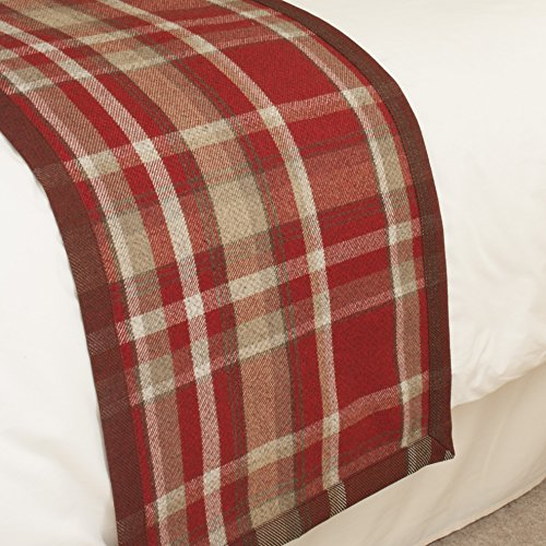 McAlister Heritage | Decorative Queen Bed Runner | 20x85 Red & White | Plush Wool-Textured Flannel Plaid | Tartan Check Farmhouse Cabin Accent Décor ()