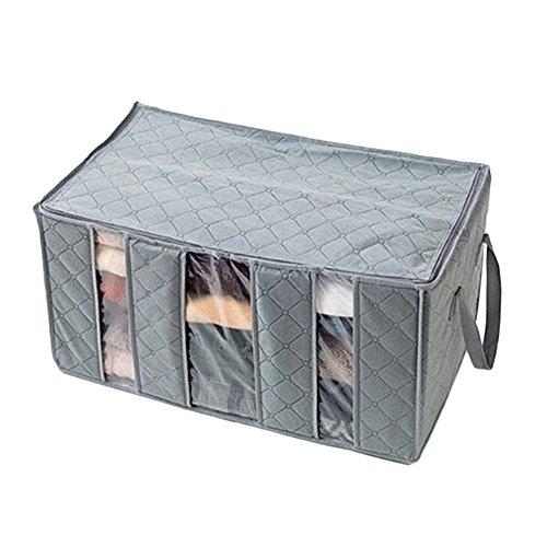 ink2055gran capacidad plegable bolsa de almacenamiento con asas organizador de la ropa manta clóset caja, gris, Una talla