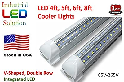25-Pack, LED Tube Lights, Dual-sided V-shape Integrated, AC85-265V, SMD2835 Clear Cover, Cool White 6000K, LED Cooler Door Lights