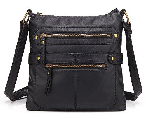 Scarleton Small Crossbody Shoulder Bag for Women, Ultra Soft Washed Vegan Leather, Black, H182001 ()