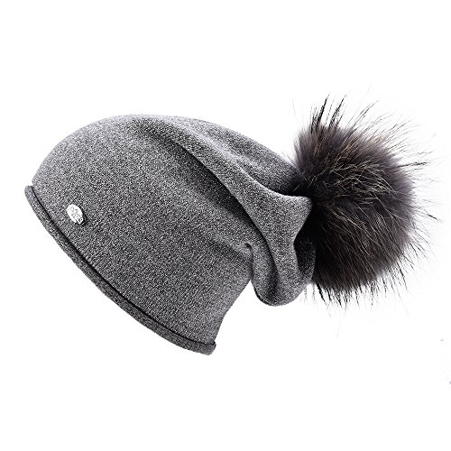 Real Wool (Womens Beanie Hats for Winter Wool Warm Cap Real Fur Pom Pom Knit Beanie Caps,Grey+grey Raccoon Pom Pom,Normal one size fit for all with stretch)