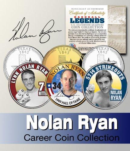 - Baseball Legend NOLAN RYAN US Statehood Quarter Colorized 3-Coin Set *Licensed*