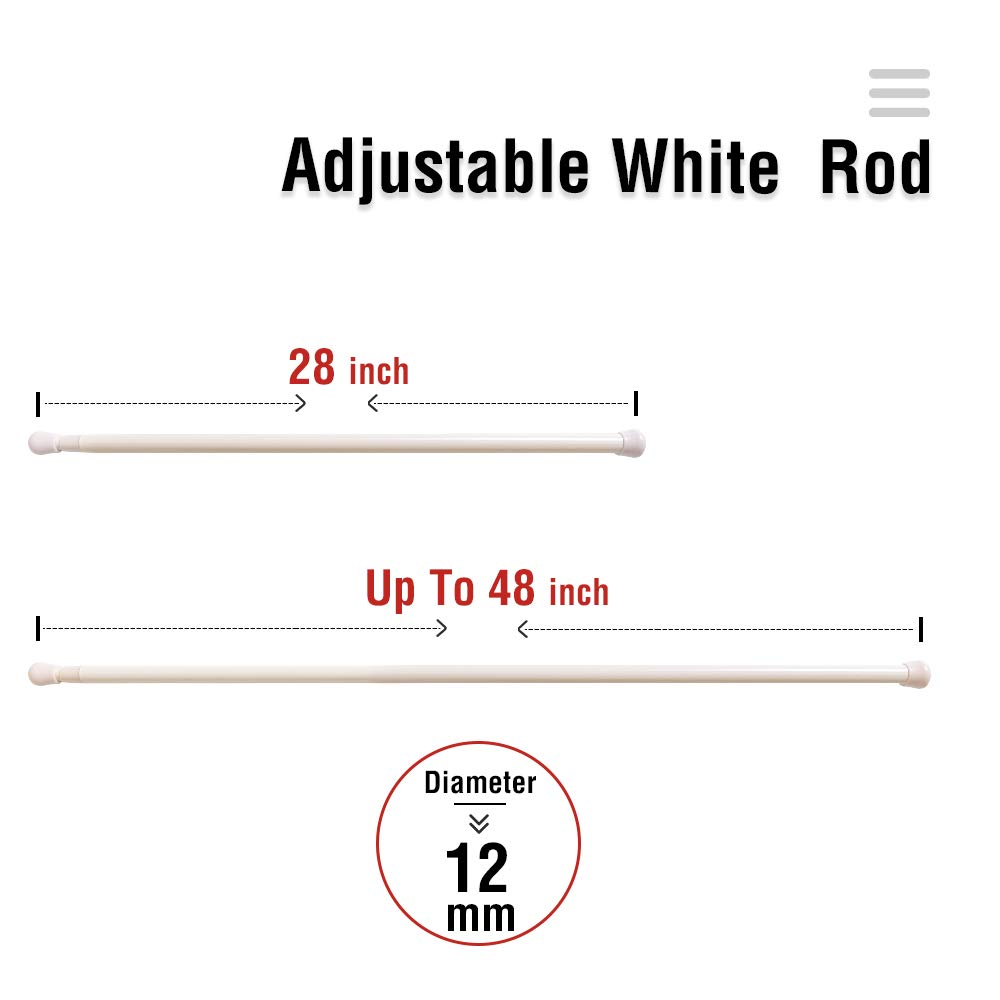 French Door Curtain Rods No Drill White Cafe Curtain Rod for Tier Curtains Multi Use Sash Telescope Adjustable Window Dressing Hardware White 26 up to 50 inch