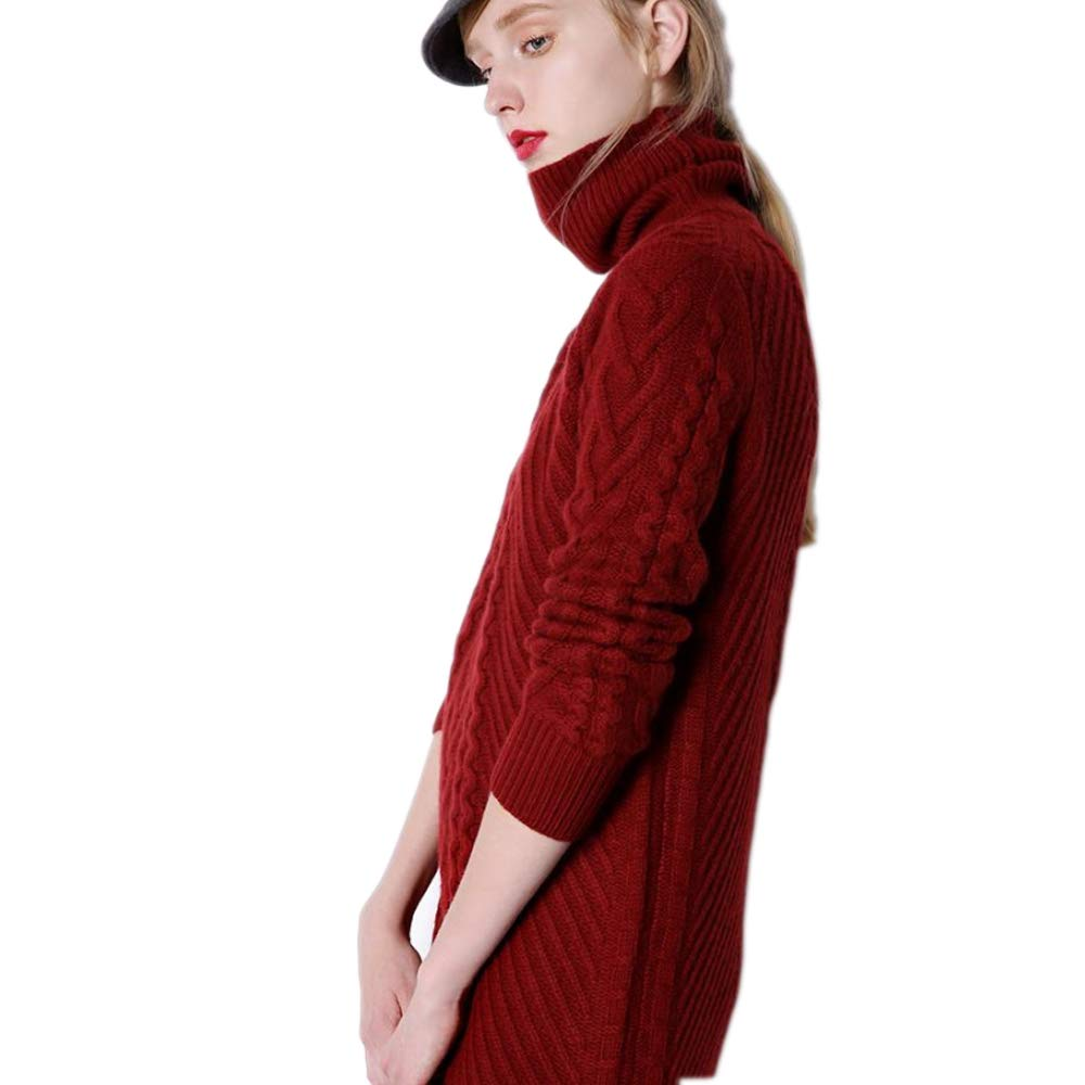 QJKai Autumn and Winter Long Cashmere Sweater Womens Thick Turtleneck Sweater Loose Sweater