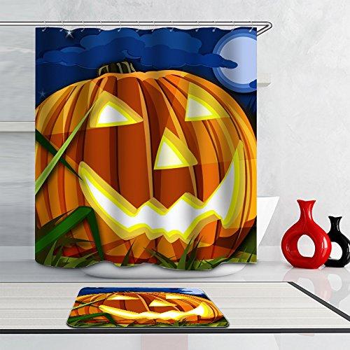 Warlock Costume Makeup - J-SO Halloween Pumpkin Moon Cloud Polyester Fabric Waterproof Mildew Resistant Antibacterial Bathroom Shower Curtain (60
