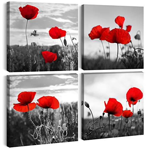 JiazuGo - Poppies Wall Art Red Poppy Flower Pictures Bathroom Decor Modern 4 Panel Black and White Canvas Print Painting Wood Framed Stretch Artwork Kitchen Bedroom Home Decoration Ready to Hang (Red Flower That Looks Like A Poppy)