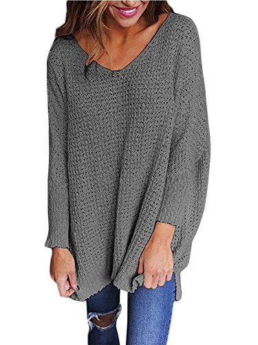 RooZooe+Women%27s+Oversized+Knitted+Sweater+V+Neck+Blouse+Loose+Jumper+Pullovers+Grey+L
