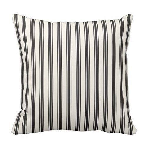 GOOESING Classic Ticking Stripe Pattern Black and Cream Pillowcase Pillow Shams Case Cushion Cover (Pillows Ticking Stripe)