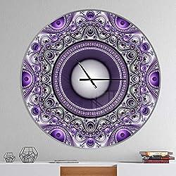 Designart Purple Fractal Pattern Oversized Modern Metal Clock, Circle Wall Decoration Art, 38x38 Inches