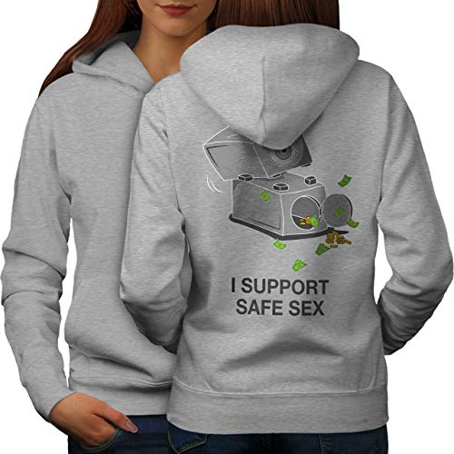 wellcoda Support Safe Sex Funny Womens Hoodie, Image Print on The Jumpers Back Grey L
