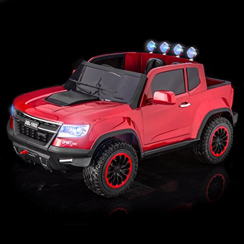 SPORTrax Chevrolet Colorado Style Painted 4WD Kid's Ride On Car, Battery Powered, Remote Control, w/FREE MP3 Player - P Red (Pick Up Truck For Kids)