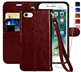 MONASAY iPhone 6 Wallet Case/iPhone 6s Wallet Case,4.7-inch, [Glass Screen Protector Included] Flip Folio Leather Cell Phone Cover with Credit Card Holder for Apple iPhone 6/6S (Burgundy with Strap)