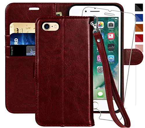 MONASAY iPhone 7 Wallet Case/iPhone 8 Wallet Case,4.7-inch, [Glass Screen Protector Included] Flip Folio Leather Cell Phone Cover with Credit Card Holder for Apple iPhone 7/8 (Burgundy with Strap)