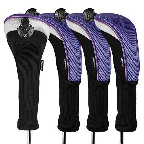 Andux 4pcs/Pack Long Neck Golf Hybrid Club Head Covers with Interchangeable No. Tag CTMT-02 (Purple)
