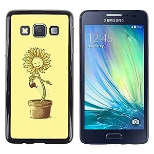 PC/Aluminum Funda Carcasa protectora para Samsung Galaxy A3 SM-A300 Sun Flower Pot Watering Can Yellow Happiness / JUSTGO PHONE PROTECTOR