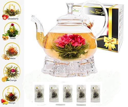 (Five Star Gift Blooming Tea Set: 750ml Glass Teapot with Filter Infuser, Heart Glass Warmer & 5 Flowering Tea Balls)