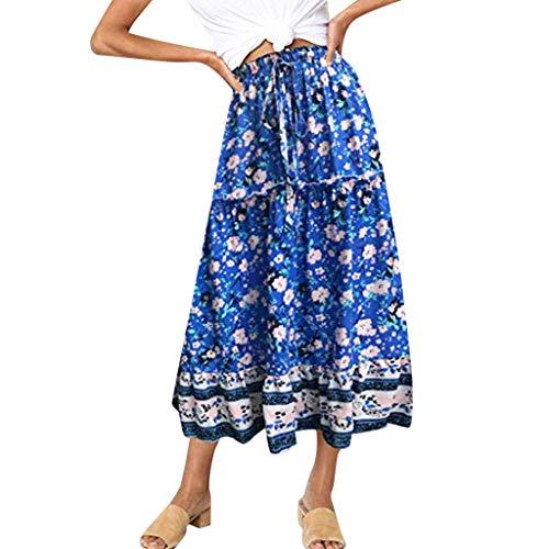 VEZAD Women's Boho Floral Print Elastic High Waist Pleated A Line Midi Skirt