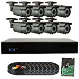 GW Security 8 Channel 4MP DVR 1080P Security Camera System - 8 x 2MP Weatherproof 2.8-12mm Varifocal Zoom Bullet Camera, 72-IR LED 196ft Night Vision, Long Transmit Range, Pre-Installed 2TB HDD