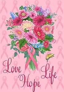 """Amor, Esperanza Vida, Bouquet–Decorativa Forma de cáncer de mama conciencia Bandera 28""""X 40"""""""