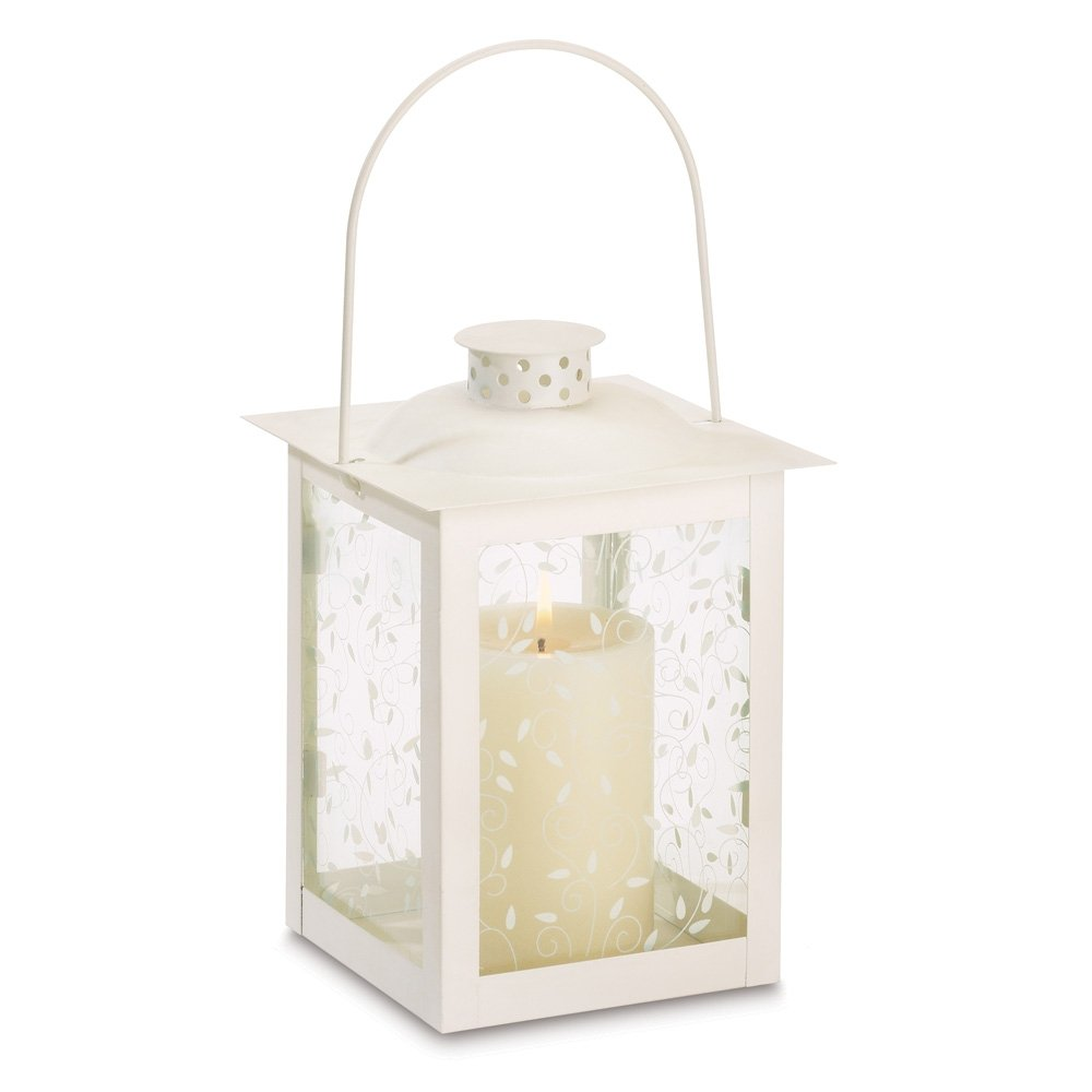 Ivory Curling Vine Accents Glass Lantern Pillar Candle Holders Large