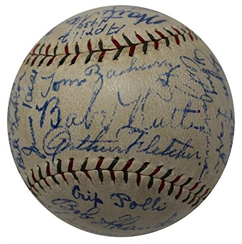 The Finest 1930 NY Yankees Team Signed Baseball Babe Ruth & Lou Gehrig JSA COA