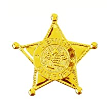 Gold Plastic Sheriff Badge - Toy Plastic Police Sheriff Badge In Golden