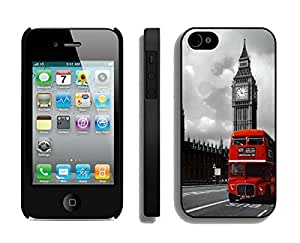 Custom London Red Bus Retro Design Iphone 4 4s Case Black Cell Phone Cover by Maris's Diary