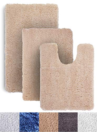 Luxe Rug Brown Plush Bathroom Rugs Bath Shower Mat Set w Non Slip Microfiber Super Absorbent Rug Alfombras para Baños (3, Brown)