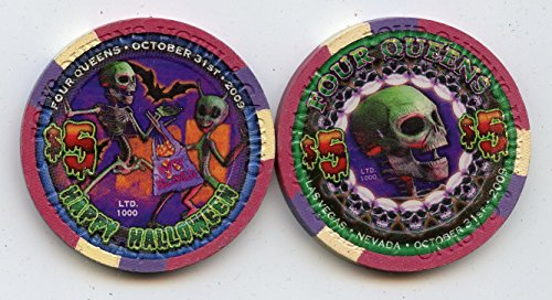 $5 Four Queens Halloween 2009 Skull dancing Skeletons Bats Old Obsolete Las Vegas Nevada Casino Chip Uncirculated Collectors Condition Chip Real Live chip ()