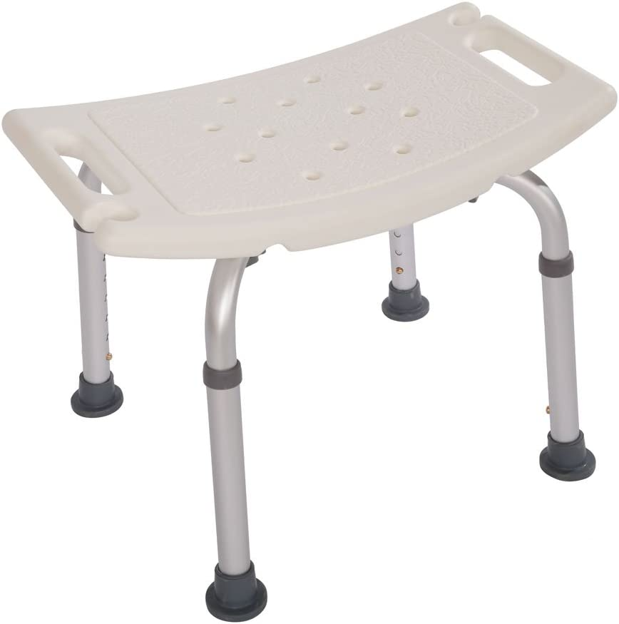 Aluminium Alloy Elderly Adjustable Height Bath and Shower Chair Top Rated Shower Bench Without Back, White