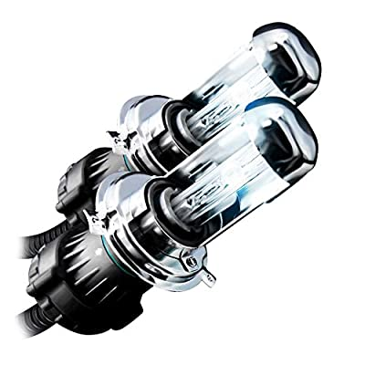 GENSSI HID Xenon Replacement Light Bulbs H4 9003 Bi-Xenon Low/High 5000K Pure White (Pack of 2)