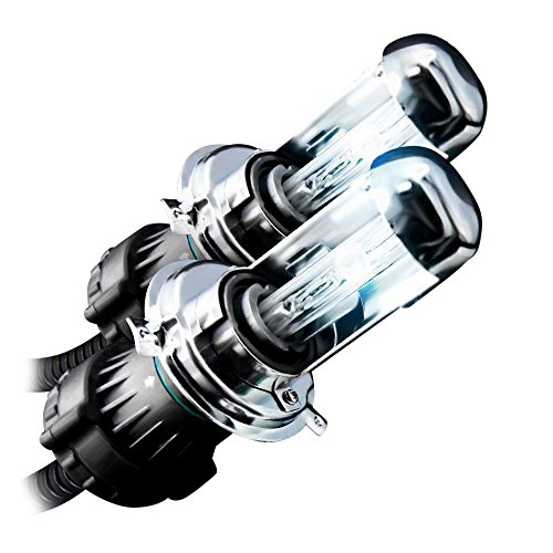 GENSSI HID Xenon Replacement Light Bulbs H4 9003 Bi-Xenon Low/Hi 6000K Super White (Pack of 2)