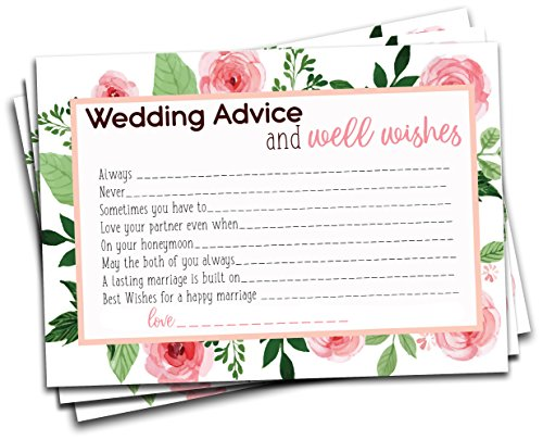 Wedding Advice and Well Wishes Cards for Bridal Shower Game, Wedding Reception Activity, for the Bride and Groom, New Mr. and Mrs., 50 Floral Cards on Card Stock 5 x7 (Wedding Reception Games)