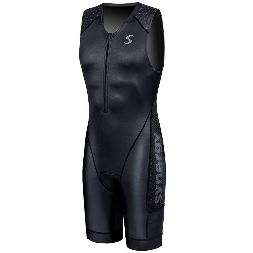 Synergy Triathlon Tri Suit Men's Trisuit (Elite Charcoal, Medium)
