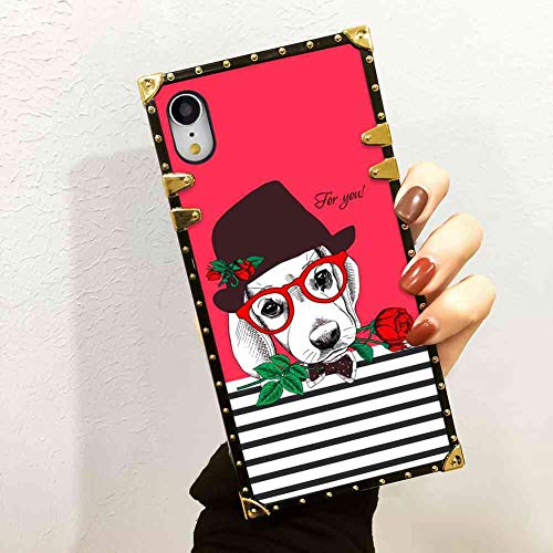 (Dog Rose Square Corner Cell Phone Case for iPhone Xr [6.1inch])